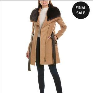 Zia Spiga faux fur trimmed coat NWT